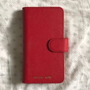 Michael Kors Red Folio Wallet Phone Case